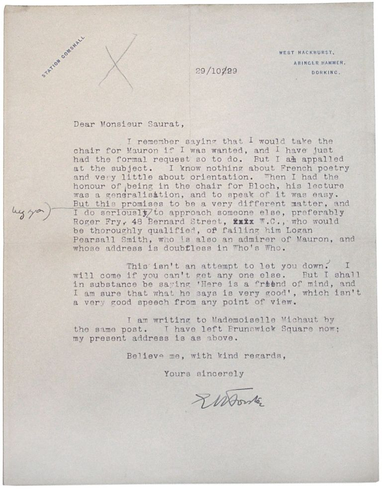 Typed Letter Signed. E. M. Forster.