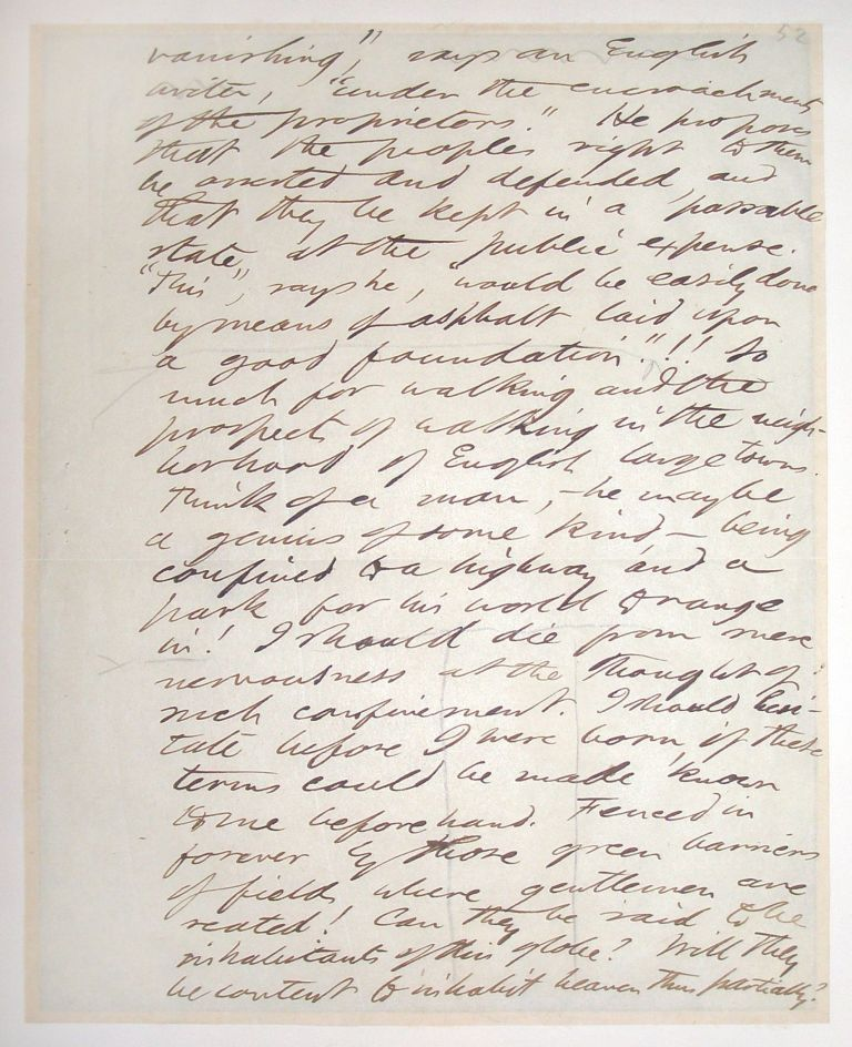 Autograph manuscript, Unsigned. Henry David Thoreau.