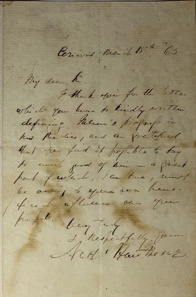 Autograph Letter Signed. Nathaniel Hawthorne.