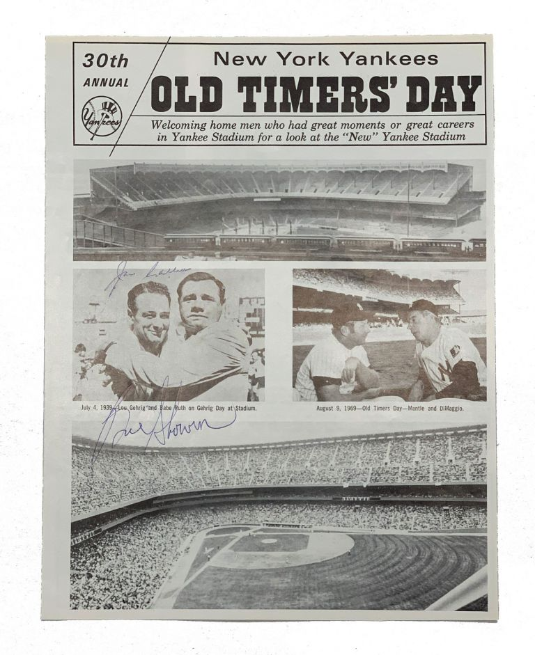 New York Yankees Old Timers' Day Program. Bill Skowron, Joe Collins.