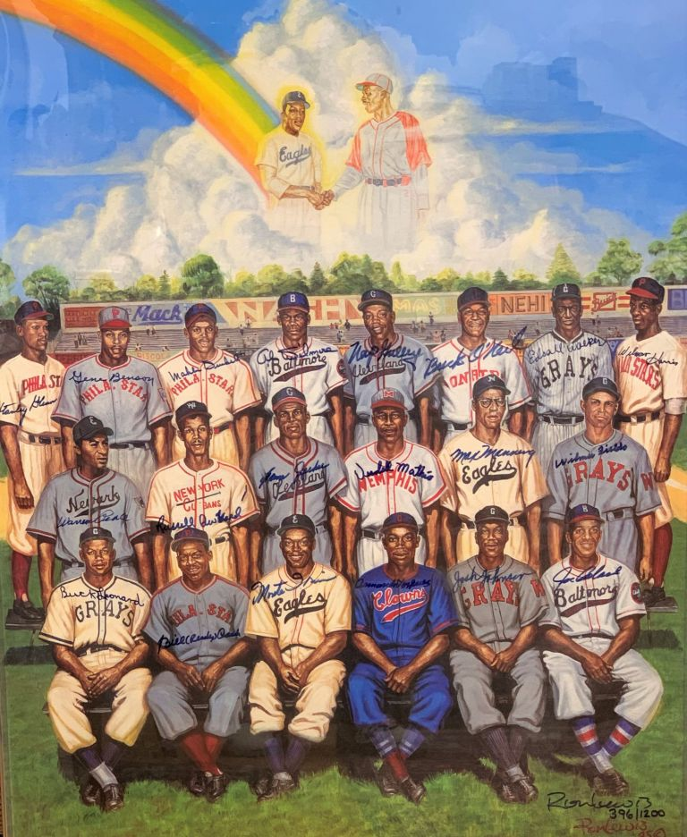 Signed Negro League Tribute to Leon Day Poster. Ron Lewis, Leon Day.