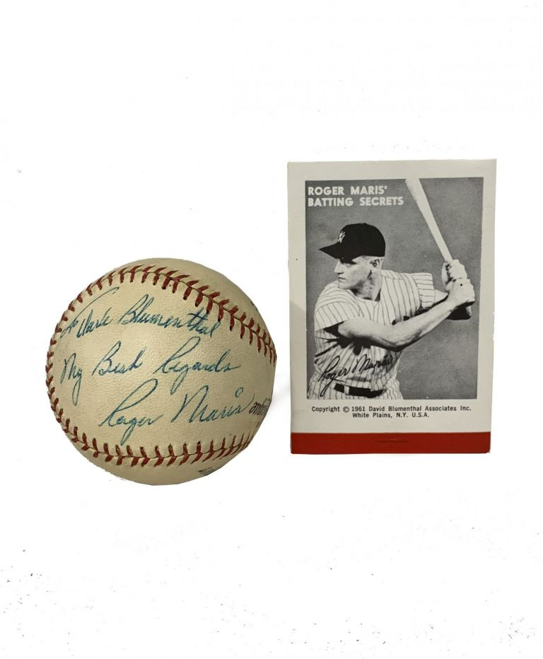 Roger Maris Baseball Inscribed to the New York Yankees' 1961 Team Photographer [with] Roger Maris' Batting Secrets. Roger Maris, David Blumenthal.