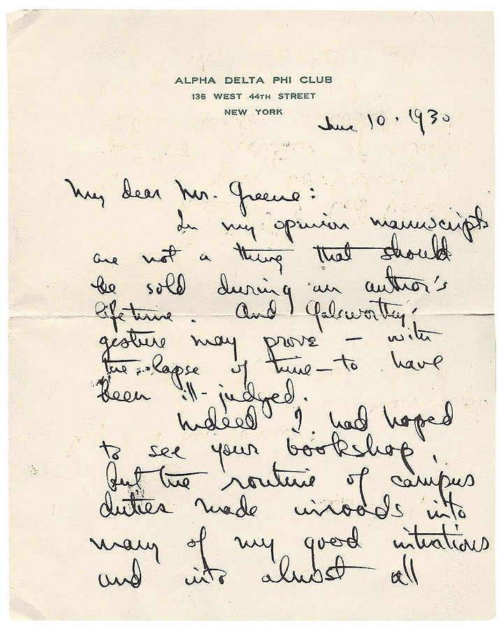 Autograph Letter Signed. Thornton Wilder.