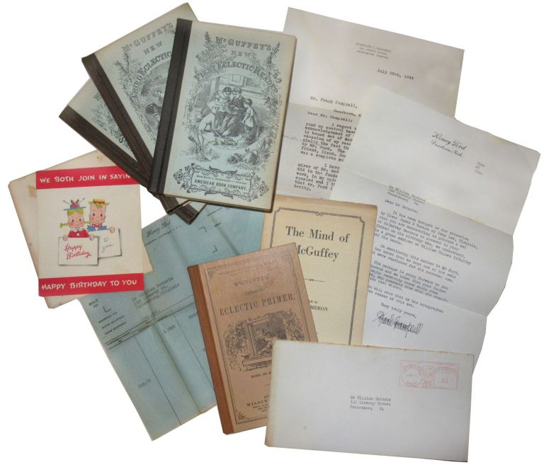 Small archive containing a set of McGuffey Readers and related correspondence. Henry Ford, William H. McGuffey.