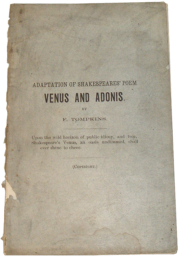 "Adaptation of Shakespeares' Poem ""Venus and Adonis"" William Shakespeare, F. Tompkins."