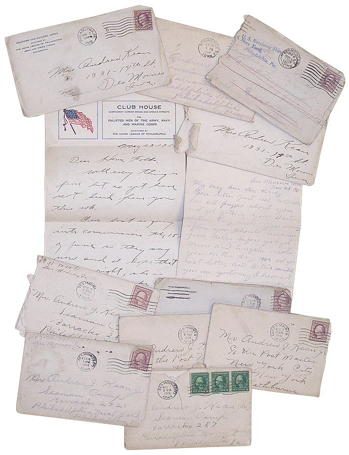 Collection of WWI Correspondence. Andrew J. Kean Jr.