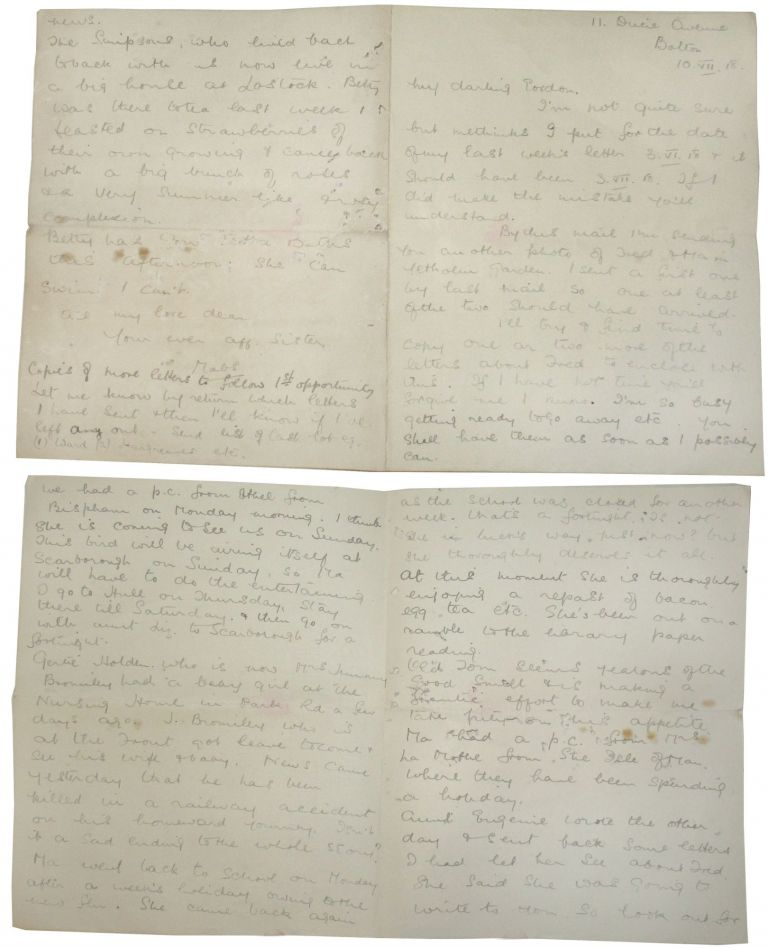 Autograph letter regarding the death of Lieutenant Fred George Carrie, with four hand-copied letters regarding the Same. WWI.