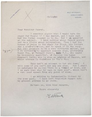 Typed Letter Signed. E. M. Forster