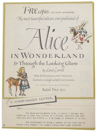 Alice in Wonderland & Through the Looking Glass (Advertisement). Lewis; Dodgson Charles The Book-of-the-Month Club; Carroll.