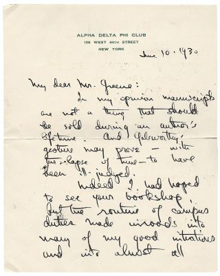 Autograph Letter Signed. Thornton Wilder