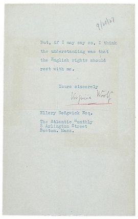 Typed Letter Signed. Virginia Woolf.