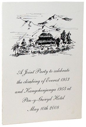 A Joint Party to celebrate the climbing of Everest 1953 and Kangchenjunga 1955 at Pen-y-Gwryd Hotel May 10th 2008 (Menu). George Lowe.