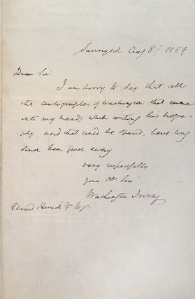 Autograph Letter Signed. Washington Irving.