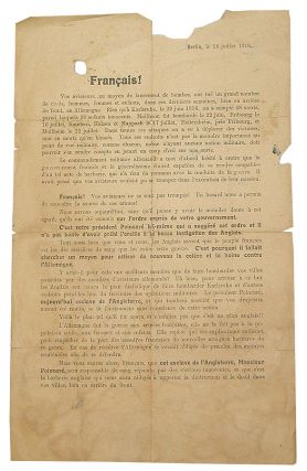 Français! [German WWI propaganda leaflet printed in French].