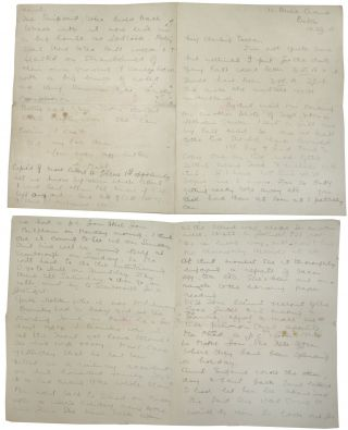 Autograph letter regarding the death of Lieutenant Fred George Carrie, with four hand-copied...