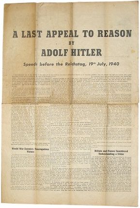 A Last Appeal To Reason. Adolph Hitler.