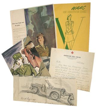 """All-Out Aggie"": Archive of Women's Army Corp (WAC) Artwork and Related Ephemera. J. Franklin Whitman Jr., Ruth E. Whitman."