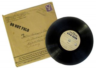 WWII USO Letter on a Record. Richard J. Bozzo